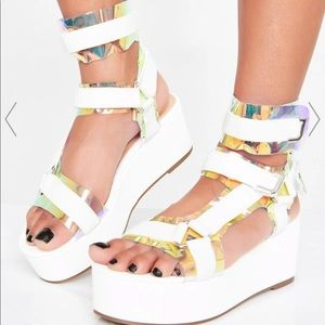 NEW Dolls Kill Holographic Platform Sandal 7.5